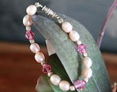 Pink Pearl and Swarovski Toddler Bracelet