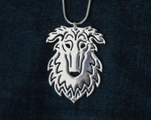 Borzoi - silver plating, dog jewelry - pendant and necklace