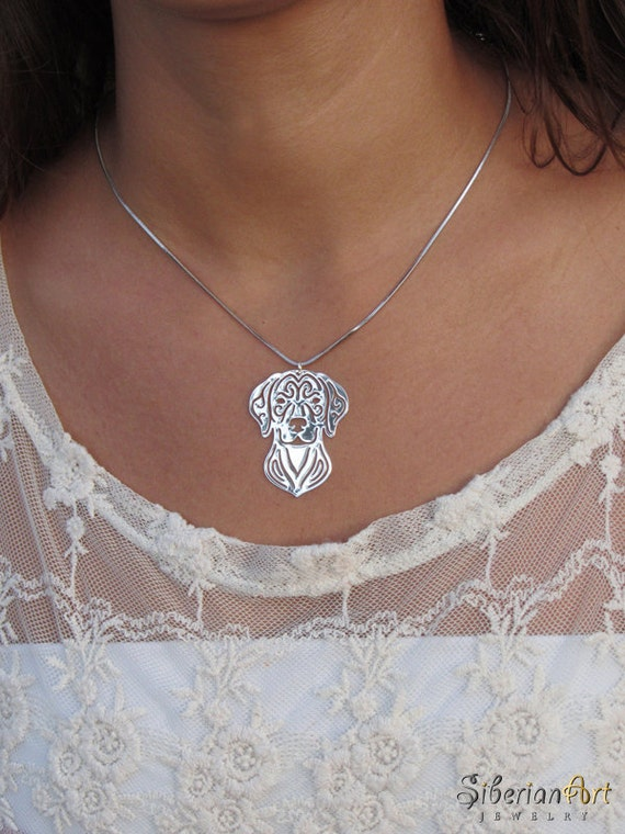 Vizsla - silver, dog jewelry - pendant and necklace