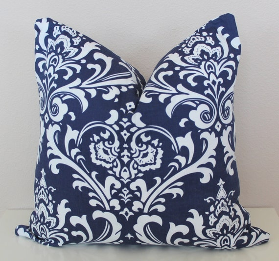 18 x 18 Pillow Cover Navy Blue White Damask