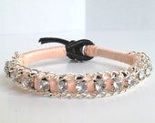 Ulei (Hawaiian rose) Bracelet with Rhinestone's and Chain in Peach