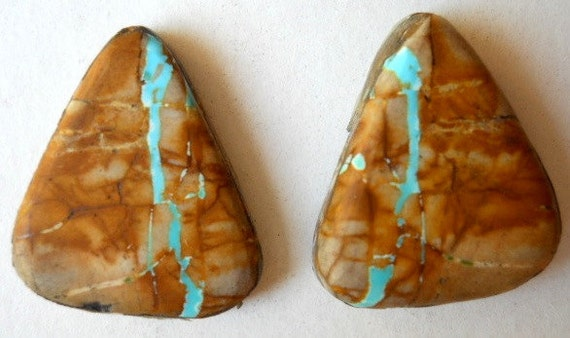 Royston Turquoise Ribbon Cabochons (2) - One Pair