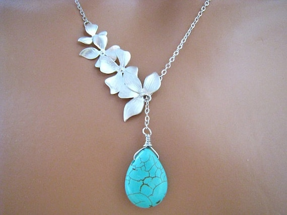 Four Orchid Flowers withTurquoise Briolette Silver Lariat