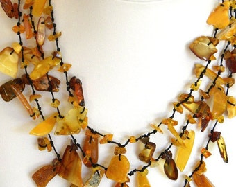 Genuine Natural Baltic Amber Bead Necklace Jewellery 3 STRANDS Length; 47cm / 18.8inch