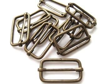 Antique Brass Rectangle Slider Rings Finding for Handmade Bags - Pack of 10pcs (3.4cm x 1.5cm)