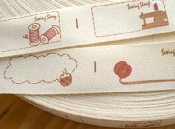 Zakka Cute Sewing Story Handmade Theme Cotton Fabric label Tape Ribbon (4 Patterns)
