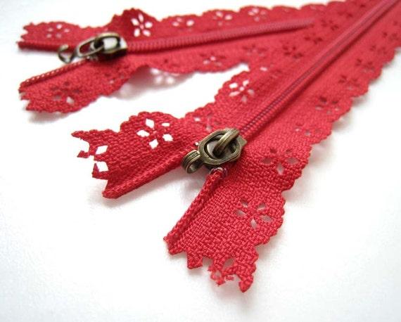 Red Floral Lace Zipper Zip Fastener (23.5cm long) - 2pc