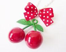 Red Kiss - Cherry Rockabilly Necklace, modern jewelry, Summer, Trend Jewelry