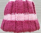 Knit Ribbed Hat, Dark Pink