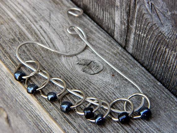Deep Blue Single Bead Knitting Stitch Markers : Set of 8