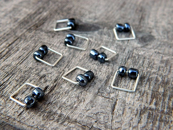 Two Blue Square Knitting Stitch Markers : Set of 8