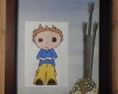 Customizable Cartoon Colored Pencil Drawing with Castle Paper Mat and Frame