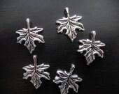 5 Tibetan Silver Maple Leaf charms