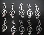 10 tibetan silver Music Note charms