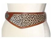 XS-M Vintage Belt Leather Leopard  Asymmetrical