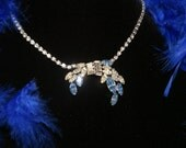 White and Baby Blue Rhinestone Necklace