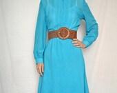 SALE Vintage 1950's style aqua polka dot dress size M