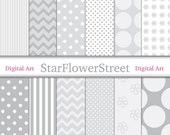 Gray Digital Paper Patterns - Soft Grays and White Polka Dot Chevron Flowers Striped Scrapbook Card Making 8.5x11 8.5 x 11
