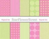 Pink and Green Digital Paper Instant Download - Polka Dot Block Stripe Striped Patterns Printable Scrapbook Papers for Scrapbooking