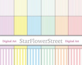 Pastel Striped Digital Paper, Scrapbook - Blue, Purple, Pink, Mint, Yellow, Peach Soft Colors, Narrow, Wide on White