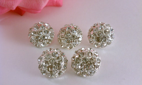 Rhinestone Metal Button. Set of 5 (RB-20)