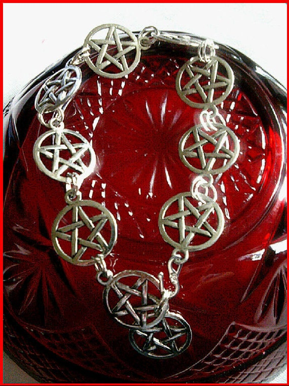 Adjustable unisex silver tone pentacle bracelet, double reinforced