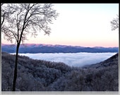 Blue Ridge Mountain Fog Covered Valley 8x10 Photograph Matted to 11x14