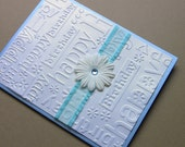 Handmade Blank Happy Birthday Card, Blue, Pearly White and Turquoise