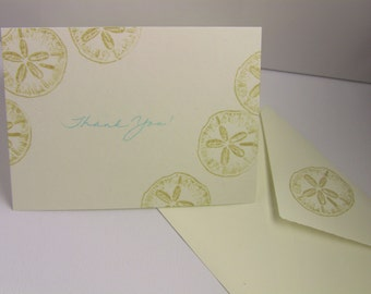 6 Sand Dollar Beach Theme Thank You Cards with Matching Envelopes, Ivory, Blank, Weddings, General Thank-Yous