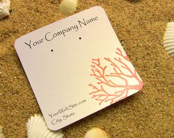 20 Coral Earring Display Cards - Hand Stamped and Hand Embossed, Customize Any Color