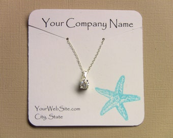 20 Starfish Custom Necklace Display Cards - Hand Stamped & Embossed, Customize Any Embossing Color (Aqua, Silver, Gold, Bronze, misc.)
