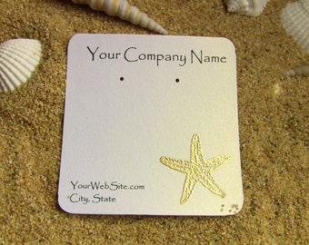 20 Golden Starfish Earring Display Cards - Customizable, Hand Stamped & Embossed Starfish, Customize Any Embossing Color