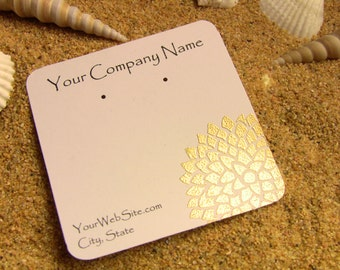 20 Golden Flower Earring Display cards, Hand Embossed, Customize Any Embossing Color
