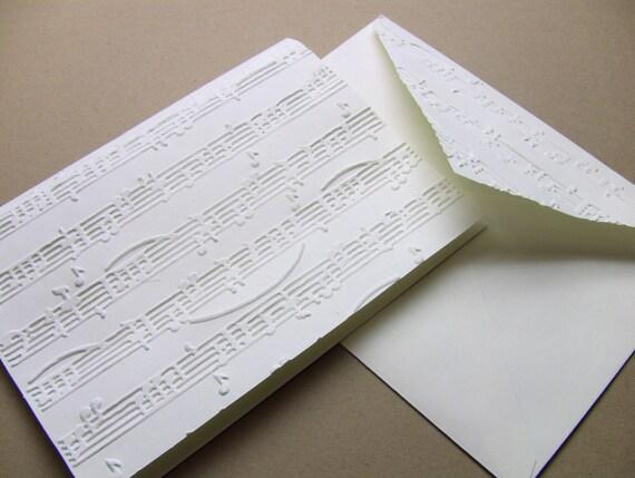 6 Music Notes Notecards, Ivory, Blank, Matching Musical Envelopes, Elegant