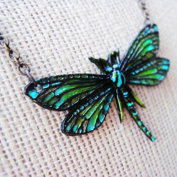 Aqua Green Hand Painted Dragonfly Necklace & Gift Box Painted With Wild Flowers
