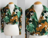 70s Crop Gypsy Style Blouse / Floral print / Green Colours / Vintage Clothing / Size S