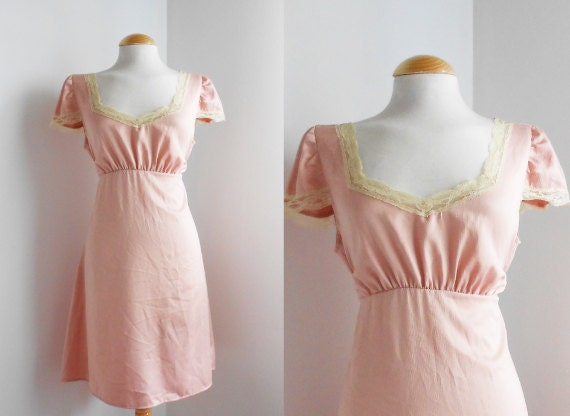 Reserved for Catherine / Romantic Vintage Satin Nightgown / Pale Pink / Lace Seams / Spring Lingerie.