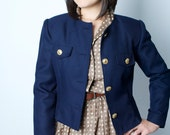 Vintage 1980s Navy Jacket with Gold Buttons Medium