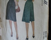 Vintage 1945 McCall 6338 Sewing Pattern Misses Skirt