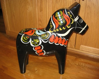 "Vintage Dala 20"" Black Dala Horse Swedish Welcome Good Luck"
