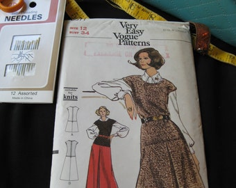 Vintage 1960s Vogue 8377 One- piece Jumper Size 12 Factory Folded KNITS Two Lengths