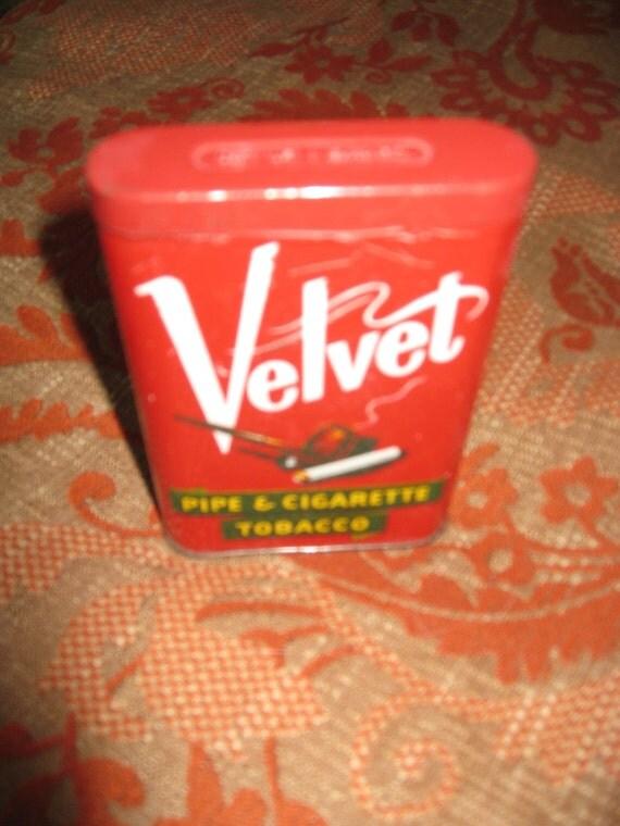 Vintage Velvet Pipe and Cigarette Tobacco Tin