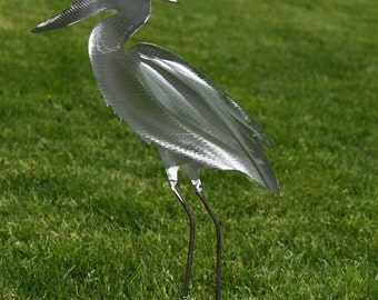 Heron metal yard art