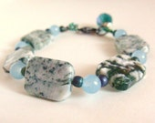 Teal Ice Blue And  Forest Green Gemstone Beaded Bracelet