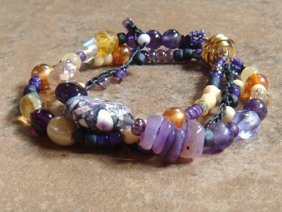 Purple Artisan Beaded Layered Bracelet