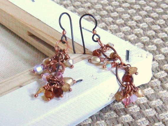 Warm Amber Colored Beaded Cluster Earrings Hessonite Garnet, Crystal and Copper Jewelry