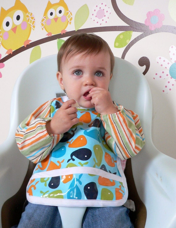 Baby bib- Sleeve-Saver Bib With Laminated Cotton Front - Urban Zoologie Whales with striped sleeves