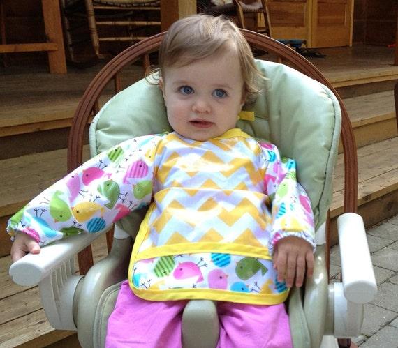 FULLY LAMINATED baby bib with sleeves (Robert Kaufman Pastel Birds and Riley Blake Yellow Chevron in Laminated Cotton)