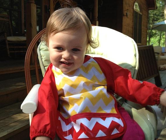 Featured on Cool Mom Picks Laminated long sleeve baby bib (using Yellow Chevron by Riley Blake Laminates)