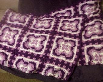 Crochet Flower Square Afghan - Purple
